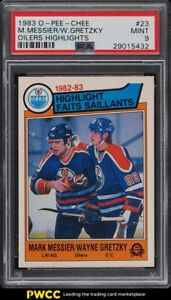 1983 O-Pee-Chee Hockey Mark Messier & Wayne Gretzky HIGHLIGHTS #23 PSA 9 MINT