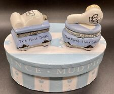 Mud Pie Baby Boy First Tooth Haircut Keepsake Box Prince Silver Blue Trinket