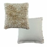 """FILLED LUXURIOUS CREAM SHAGGY CHENILLE TWIST THICK SUPERSOFT CUSHION 17"""" - 43cm"""