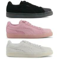 PUMA Suede Leather Jelly Ladies Trainers Black Pink Grey Suede Womens Shoes