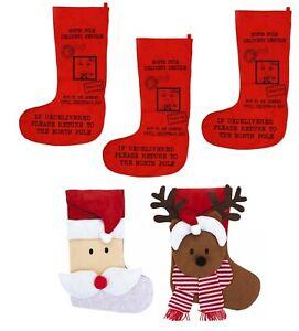 CHRISTMAS STOCKING SET JUMBO LARGE XMAS GIFT BAG SACK KIDS ADULT FAMILY HANG FUN