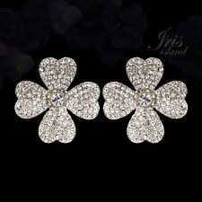 Rhodium Plated Clear Crystal Rhinestone Wedding Stud Earrings 08762 Flower