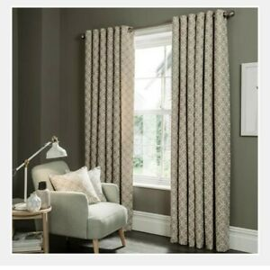 NEW  Curtains 1 pair Eyelet Headed Ivory lined