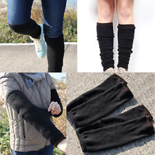 2 Pairs Mens Black Leg Warmers Thermal Socks-Skin contact surface is 100% cotton