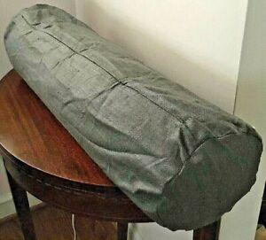 New Eileen Fisher For Garnet Hill Gray Raw Silk Bolster Pillow Cover 8X30