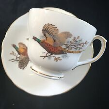 Vintage Duchess Tea Cup Saucer Bone China Pheasant Country Birds England Gold