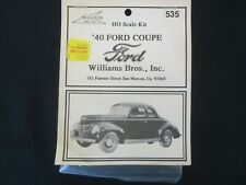 Williams Bros Inc 1940 Ford Coupe Sedan HO Scale Model Kit 535 Classis Roadster