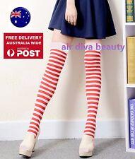 Women Girl Red White Stripe Knee High Costume Christmas Socks Tights Stockings
