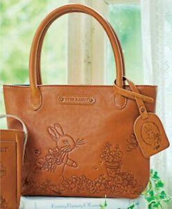 PETER RABBIT Cowhide Mini Tote Bag Handbag Purse Pouch Japan Gift B5631