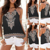Women Floral Summer Strappy Vest Top Sleeveless Shirt Blouse Casual Tank Tops US