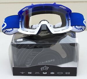 FOX RACING AIRSPC PERFORMANCE MX DIRTBIKE GOGGLES BLUE/WHITE VENTED