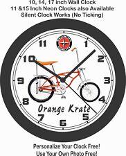 SCHWINN ORANGE KRATE STINGRAY BICYCLE WALL CLOCK-FREE USA SHIP!
