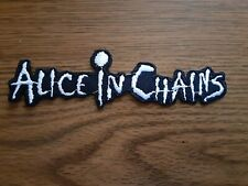 ALICE IN CHAINS,IRON ON WHITE EMBROIDERED PATCH