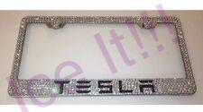 TESLA Stainless Steel license plate frame W Swarovski Crystals