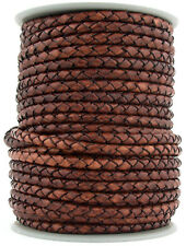 Xsotica® Distresed Brown Round Bolo Braided Leather Cord 3mm 1 Meter (3.28 Feet)