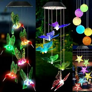 Solar Powered Wind Chimes LED Light Color Changing Hanging Garden Outdoor Decor