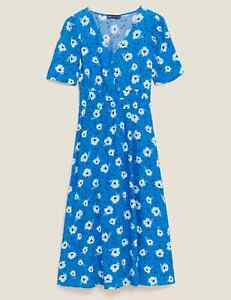 MARKS AND SPENCER FLORAL PUFF SLEEVE MIDI WAISTED DRESS SIZE 14 BLUE MIX COLOUR