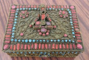 China White copper twisted silk inlaid red coral, turquoise box 金属  盒