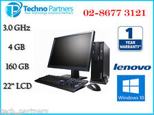 "Lenovo M58P Desktop PC Computer Package E8400 3.0G 4G 160G 22"" in LCD Windows 10"