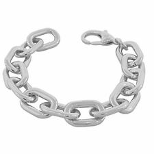 Stainless Steel Silver-Tone Large Chunky Links Chain Bracelet