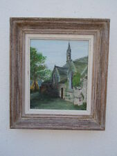 Oil painted picture on isorel chapel in Brittany signed menez