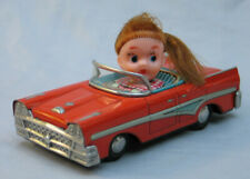 Tin Friction 1958 Ford with Ponytail Girl Driver