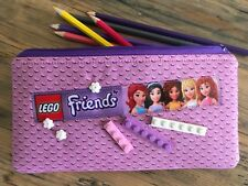 Handmade Fabric Lego Friends inspired Pencil Case Bricks Flowers School Gift
