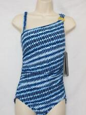 NWT Coco Reef One Shoulder Maillot Swimsuit Blue & White Size 12 / 36 D-Cup