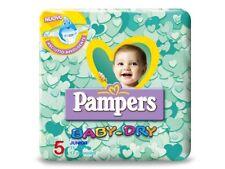 6 PACCHI PANNOLINI PAMPERS BABY DRY TAGLIA 5 ASCIUTTO BAMBINO 3 STRATI 102 PZ.