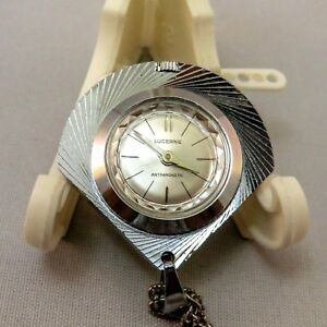 "1967 LUCERNE 20"" Necklace Anti-magnetic Pendant Award Watch Runs Fine"