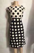 ELLEN TRACY BRAND BLACK/WHITE POLKA DOT SLEEVELESS FULLY LINED A LINE DRESS 12