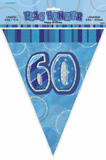 60th Blue Glitz Bunting - 12ft Long - Plastic Party Pennants Flag Banner