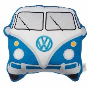 Official Volkswagen VW T1 Camper Van Shaped Blue Cushion