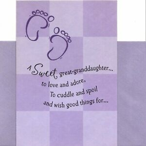 Purple Congratulations New Baby Girl Great Granddaughter To Love Hallmark Card