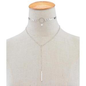Women's Sequin Tassel Bar Pendant Bling Funky Choker Boho Necklace In Silver