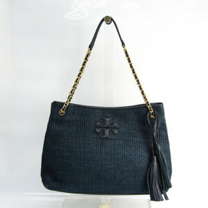 Tory Burch Women's Leather,Straw Tote Bag Navy BF518885