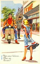 VESPA PIAGGIO Scooter : Carte Postale Rétro Humoristique Charme Postcard #0337