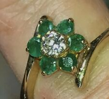 Vintage 14 Kt Yellow Gold .07 Carat Diamond And Emerald Flower Ring Size 3.5