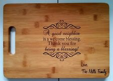 Personalized Bamboo Cutting Board Welcome Neighbor Blessing Christmas Gift