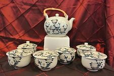 Japanese Tea Set - Tea Pot w/ Bamboo Handle & 6 Tea Cups w/ Covers