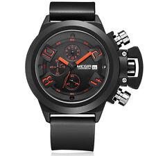 Megir Luxury Silicone Military Analog Date Chronograph Men Wrist Watch black