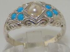 English 925 Solid Sterling Silver Genuine Natural Pearl & Turquoise Band Ring