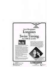 PUBLICITE ADVERTISING  1981   LONGINES  montre AUX JEUX OLYMPIQUES