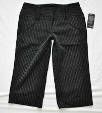 NWT BoHo CHIC Cropped Black Pinstripe Fitted Capris Pants Slacks Trousers 3