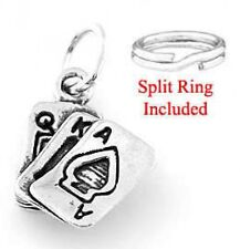 "STERLING SILVER ""ACE OF SPADES""CHARM WITH SPLIT RING"