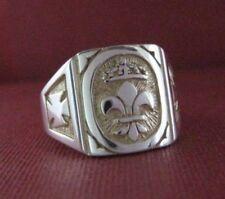 Solid silver Templar ring - Fleur de Lys - 23622