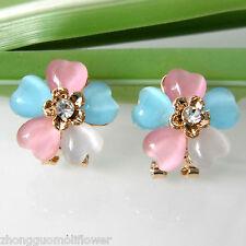 Navachi Heart Leaves Flower Crystal 18K GP Multi-colored Opal Earrings BH1559