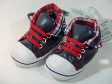 New Little Me Nautical Navy Blue & Red Faux Leather & Plaid Shoes Sz 6-9M, 9-12M