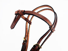 BROWN WESTERN HORSE LEATHER CAL FUTURITY KNOT TRAIL COWBOY BRIDLE HEADSTALL TACK