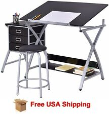 Adjustable Drawing Desk Drafting Table and Stool Craft Scrapbook Art Station New